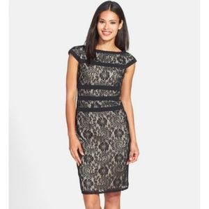 NWT Adrianna Papell Lace Black Nude Cocktail Dress